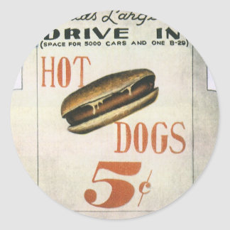 Vintage Billboard, Worlds Largest Drive In Hotdogs Classic Round Sticker