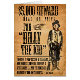 Vintage Billy the Kid Greeting Card