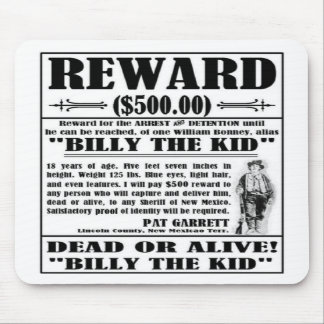 Vintage Billy the Kid Wanted Poster Mouse Pads