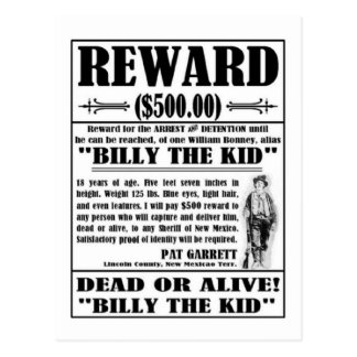 Vintage Billy the Kid Wanted Poster Postcard
