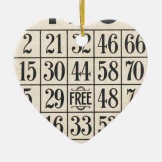 Vintage Bingo Card Ceramic Heart Decoration