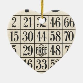 Vintage Bingo Card Christmas Ornament