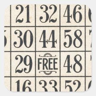 Vintage Bingo Card Square Sticker