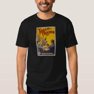 Vintage Biograph Studios Three Friends Movie T-shirts