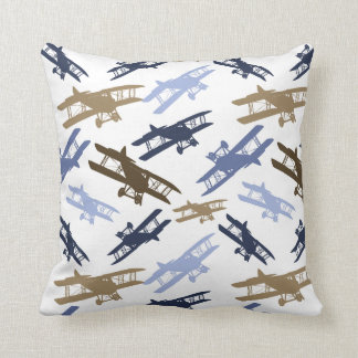 Vintage Biplane Airplane Pattern Blue Brown Cushion