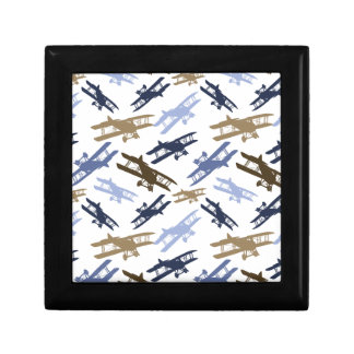 Vintage Biplane Airplane Pattern Blue Brown Trinket Boxes