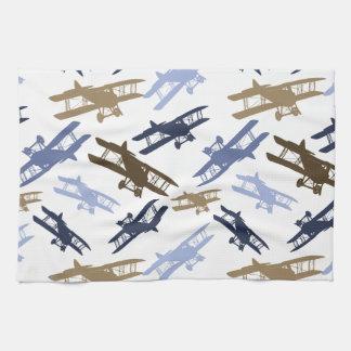 Vintage Biplane Airplane Pattern Blue Brown Tea Towel