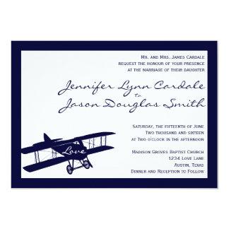"Vintage Biplane Aviator Blue Wedding Invitations 5"" X 7"" Invitation Card"