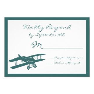 Vintage Biplane Aviator Blue Wedding RSVP Cards