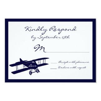 "Vintage Biplane Aviator Blue Wedding RSVP Cards 3.5"" X 5"" Invitation Card"