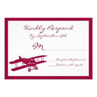 Vintage Biplane Aviator Magenta Wedding RSVP Cards