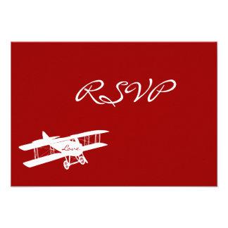 Vintage Biplane Aviator Red Wedding RSVP Cards