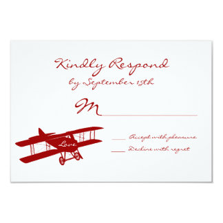 "Vintage Biplane Aviator Red Wedding RSVP Cards 3.5"" X 5"" Invitation Card"