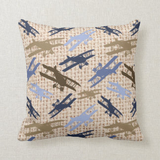 Vintage Biplane Burlap Print Airplane Pattern Cushion