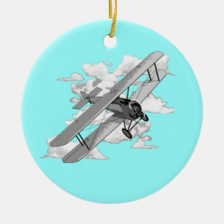 Vintage Biplane Christmas Ornament
