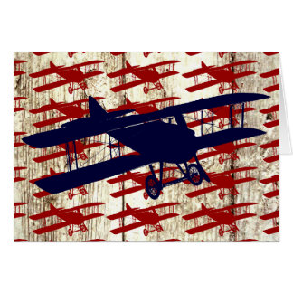 Vintage Biplane on Barn Wood Aviation Gifts Card
