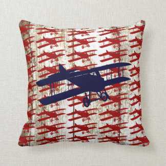Vintage Biplane on Barn Wood Aviation Gifts Cushion