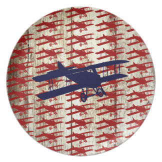 Vintage Biplane on Barn Wood Aviation Gifts Dinner Plate