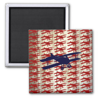 Vintage Biplane on Barn Wood Aviation Gifts Square Magnet