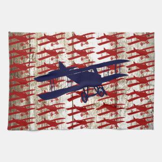 Vintage Biplane on Barn Wood Aviation Gifts Tea Towel