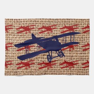 Vintage Biplane Propeller Airplane on Burlap Print Tea Towel