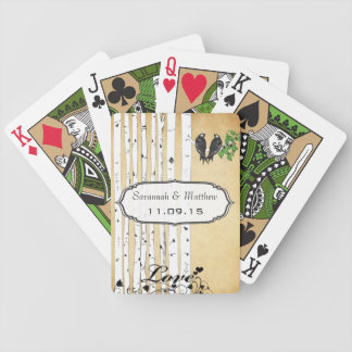 Vintage Birch Love Birds Wedding Gift Playing Card