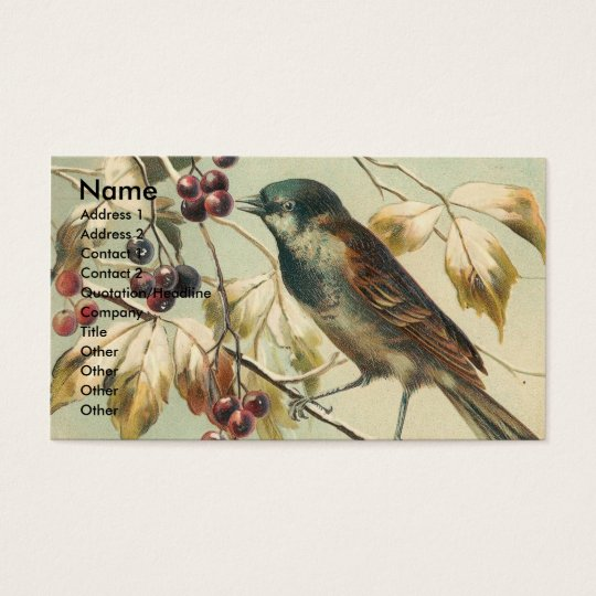 Vintage Bird and Berries Business Card