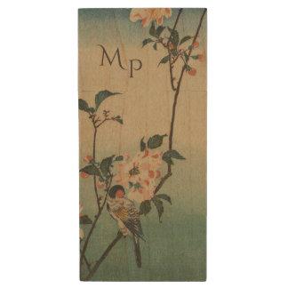 Vintage Bird and Blossom Illustration Wood USB 3.0 Flash Drive