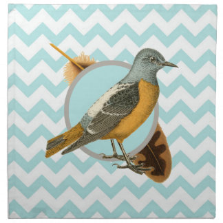 Vintage Bird and Feather Printed Napkins