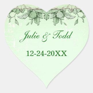 Vintage Bird and Flower Wedding Save The Date Heart Sticker