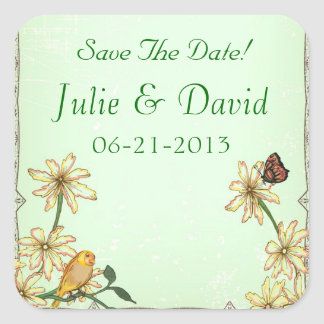 Vintage Bird and Flower Wedding Save The Date Square Sticker