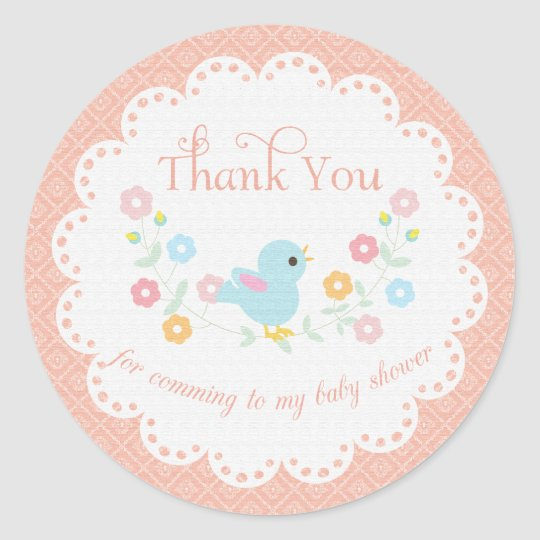 Vintage Bird and Flowers Baby Shower Thank You