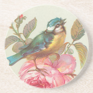 Vintage Bird and Roses Drink Coaster