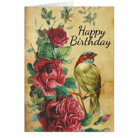 Vintage Bird and Roses Happy Birthday Card