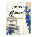Vintage Bird Birdcage Blue Flowers French Personalized Invite