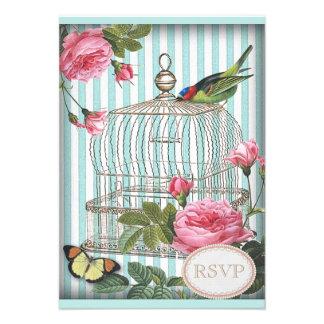 Vintage Bird Cage Butterfly Roses RSVP Custom Invitations
