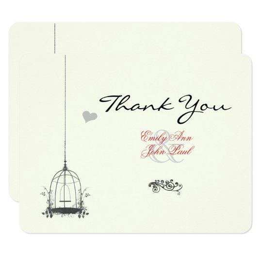Vintage Bird Cage Red Accents Wedding Thank You Card