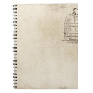 Vintage Bird Cage Script Notebook