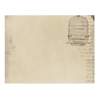 Vintage Bird Cage Script Post Card