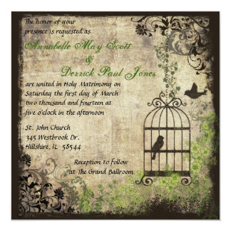 "Vintage Bird Cage Wedding Invitation 5.25"" Square Invitation Card"