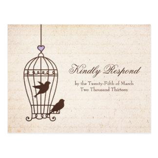 Vintage Bird Cage Wedding RSVP | Lavender Purple Postcard