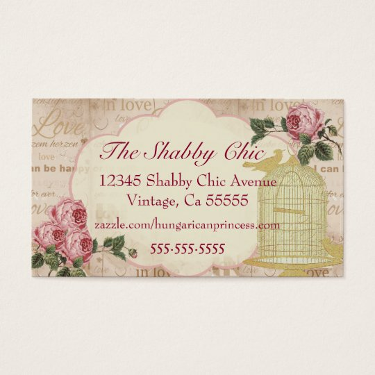 Vintage Bird Cage With Roses Elegant Business Card