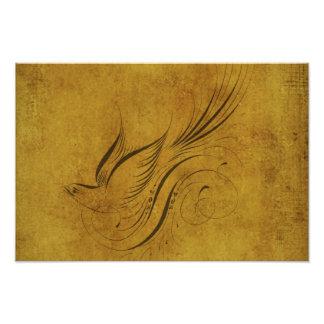 Vintage Bird Calligraphy on Gold Photo Art