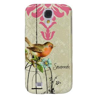 Vintage Bird Damask Bird Cage iPhone Case Galaxy S4 Case