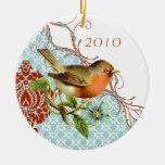 Vintage Bird Damask Christmas  Ornament