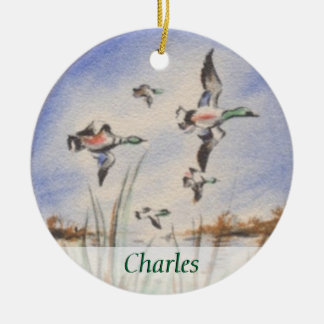 Vintage Bird Dog Duck Hunter Personalized Christmas Ornament