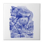 Vintage Bird Drawing | Blue | Whooping Crane Small Square Tile