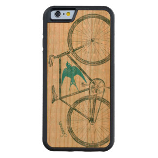 Vintage Bird Emerald Green Bike Pattern on Wood Cherry iPhone 6 Bumper Case
