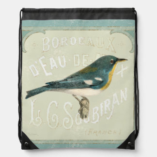 Vintage Bird Facing the Right Drawstring Bag