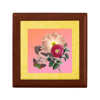 Vintage Bird Floral Butterfly Coral Yellow Collage Small Square Gift Box